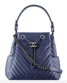 DYING. Chanel-Chevron-Drawstring-Bag-Blue-3400