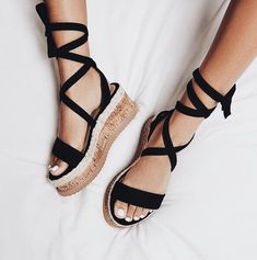 Leg wrap + platform sandals.