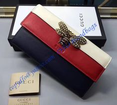 ee9fd9be26b Gucci Queen Margaret White Red Blue Leather Continental Wallet