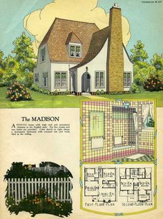 The Madison RADFORD'S 1925 HOUSE PLANS A stucco house with high roof and prominent chimney in the English style.
