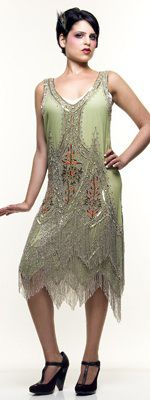 Green & Silver Embroidered Reproduction 1920's Great Gatsby Dress $298.00 Store: Unique Vintage
