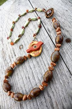 Honey Garden Necklace  Bird Autumn Fall by SweetSageJewelry, $46.00