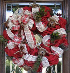 BURLAP and JINGLE BELLS Wreath by decoglitz on Etsy