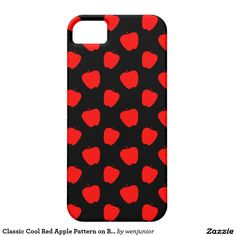 Classic Cool Red Apple Pattern on Black Background iPhone 5 Case