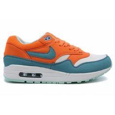 Fake Womens Nike Air Max 1 Bright Mandarin Mineral Blue Shoes $39.98