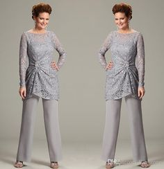 Ursula of Switzerland Two-Piece Mother of the Bride Pant Suits with Illusion Scoop Neck Lace Long Sleeve Chiffon Plus Size Groom Dress 2015, $89.58 | DHgate.com