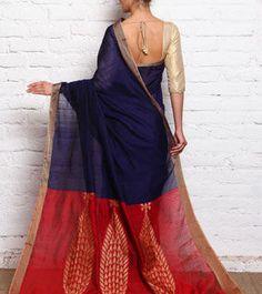 Royal Blue & Red Ghicha Silk Handloom Saree
