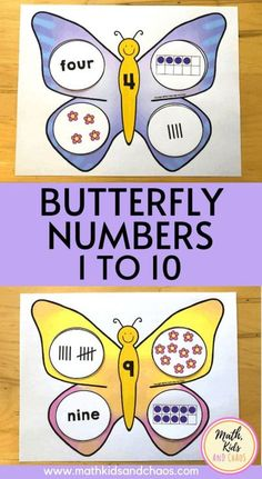 This springtime butterfly math activity is perfect for young children who are working on building number sense. Help your child practise important basic math skills like counting, subitizing and number recognition. Includes 10 butterfly picture cards, each numbered 1 to 10. Match the correct 4 number cards to each butterfly. Help your child become familiar with ten frames, number names and tally marks. #mathkidsandchaos #homeschoolmath #kindergartenmath #numbersto10 #preschoolmath… Math Activities For Kids, Name Activities, Fun Math, Maths, Math Fractions, Spring Activities, Multiplication, Elementary Math, Kindergarten Math