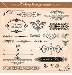 Calligraphic design elements and page decoration vector 1107031 - by digiselector on VectorStock®