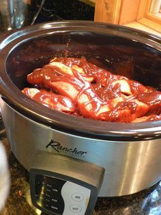 """Crock Pot/Slow Cooker Country Style Ribs - The cook says """"I found these country style ribs in the freezer and after thawing them, David put a dry rub on them, slathered them with Sweet Baby Rays and put them in the crock pot to cook for seven hours""""."""