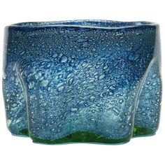 View this item and discover similar for sale at - An unusual shaped vintage art glass bowl hand blown in blue glass with bubble inclusions with a green tinted base. The rounded bowl has a pinched design Stained Glass Art, Stained Glass Windows, Glass Flowers, Diy Solar, Vintage Art, Bubbles, Illustration Art, Blue, Diy Things