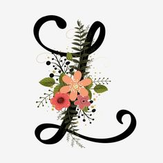 Alphabet Floral Letter L With Flowers And Leaves Flower Alphabet, Flower Letters, Monogram Letters, Vintage Flowers, Floral Flowers, Fonte Alphabet, Alphabet Wallpaper, Monogram Wallpaper, Leaf Background