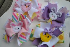 Large Easter Boutique Bow Set  HOPPY DAYS  by TheJellyBeanJunction, $24.99