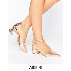 Truffle Wide Fit Heel Shoe ($31) ❤ liked on Polyvore featuring shoes, pumps, copper, wide pumps, ankle wrap pumps, wide shoes, mid heel pumps and pointy toe ankle strap pumps