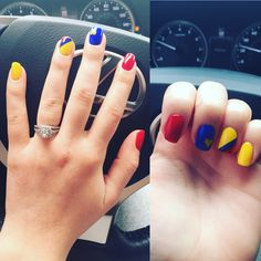 Nails, colors, colombia's flag Mani Pedi, Manicure And Pedicure, Colombia Flag, Flag Nails, Ankle Tattoo Designs, Summer Nails, Nail Art Designs, Lily, Tattoos