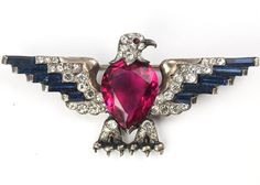 Trifari Sterling 'Alfred Philippe' US Patriotic Red White and Blue Faceted Belly Medium Eagle Pin