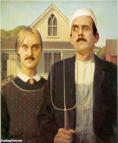John Cleese in American Gothic➕More Pins Like This At FOSTERGINGER @ Pinterest✖️