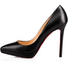 Pigalle Plato 120 Black Leather - Women Shoes - Christian Louboutin (€685) ❤ liked on Polyvore featuring shoes, pumps, black shoes, leather pumps, black leather shoes, leather footwear and black court shoes