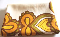 Orange & Yellow Psychedelic Flower Power Mod Tablecloth - Vintage West Germany Retro Tablecloth - Dining Table Retro Kitchen by FunkyKoala on Etsy