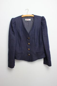 Marine Jeans, Mantel, Etsy Shop, Coat, Sweaters, Fashion, Oktoberfest, Dark Blue, Linen Fabric