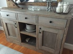 Rustic Style Dining Room Side Board Includes 2 Cabinets And 3 Drawers