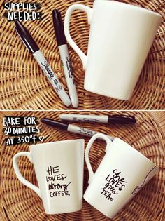 DIY Personalized Coffee Mugs!  -- I've been wanting to acquire some items with my first & middle name on them.... this is a super easy way to do it, apparently! Can get mugs at the $1 store (per a suggestion in the link). Could make for my Walk to End Alzheimer's Team, too!