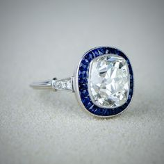4.98ct Vintage Cushion Cut Engagement Ring with Sapphire Halo - Estate Diamond Jewelry Collection - Vintage Engagement Ring