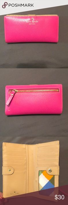 Kate Spade Jackson Street Stacy Wallet Gently used Kate Spade wallet! BRIGHT PINK! Bags Wallets