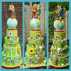 Wedding cake with a lot of details of interests en hobbies of the couple, this couple wanted themselfs in travel outfit on top of the world and with backpack. Made with funcakes fondant, base is spring green. - Taartmama.nl