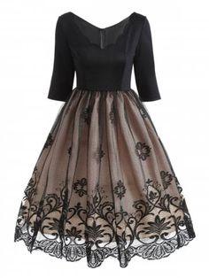 GET $50 NOW | Join RoseGal: Get YOUR $50 NOW!https://m.rosegal.com/vintage-dresses/v-neck-floral-lace-panel-1353983.html?seid=9778517rg1353983