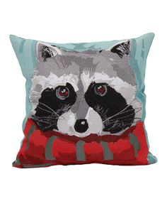 Raccoon & Scarf Tapestry Throw Pillow