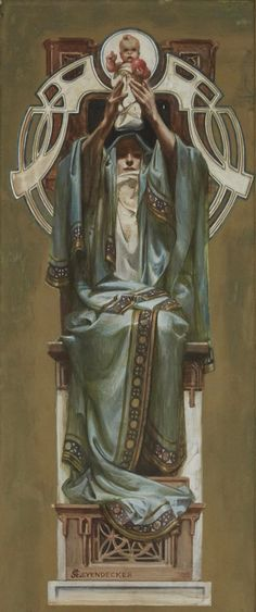 """Illustration for the Rosicrucian Order by JC Leyendecker, 1902. Watercolour and gouache on paperboard, 18 x 8"""""""