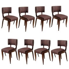 French Art Deco Dining Chairs, Suite Of 8