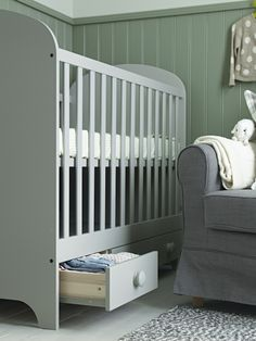 GONATT crib - When choosing a crib for your baby, think ahead. Cribs with features like storage, adjustable heights, and the ability to convert to a toddler bed, will grow with your child through various stages, saving you time and money. Plus, your little one can stay in the comfort and security of their first bed a bit longer.