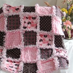 Baby Rag Quilt Pink Brown Sweet Heart
