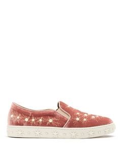 Cosmic faux pearl embellished velvet trainers by Aquazzura