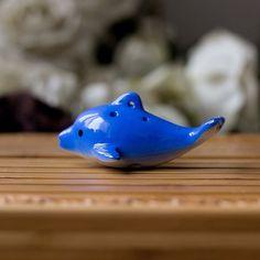 6 holes dolphin shaped ceramic ocarinablue color