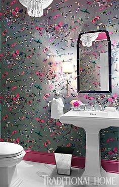 Wallpaper, metallic, butterflies traditional home magazine — hidell brooks gallery