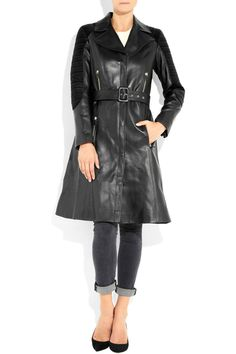 Versace|Quilted corduroy-paneled leather trench coat|NET-A-PORTER.COM