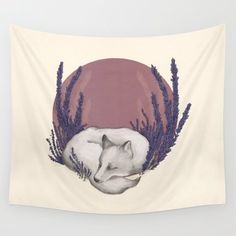 Wall Tapestry featuring Fox & Lavender by Jessica Roux