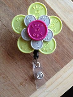 Large Flower ID Badge Holder With Retractable Reel - Made From Flip Off Vial Caps (purple, gray, green, black, floral)