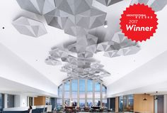 SoundStar® ceiling system's hexagonally shaped cellular coffers offer a scalable way to add geometric dimensionality and disrupt sound's ability to travel across a space. Drop Ceiling Lighting, Drop Ceiling Tiles, Dropped Ceiling, Recessed Ceiling, Ceiling Fixtures, Ceiling Lights, White Vinyl Fence, Vinyl Fence Panels, Garage Door Panels