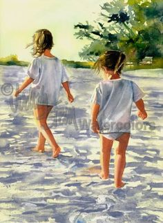 "Sisters, Friends, Girls Hike Beach, Seashore, White Shirt, Shorts, Children Watercolor Painting Print, Wall Art, Home Decor, ""Morning March"""
