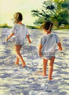 "Sisters, Friends, Girls Hike Beach, Seashore, White Shirt, Shorts, Children Watercolor Painting Print, Wall Art, Home Decor, ""Morning March"""