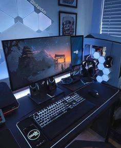 Gaming Desk Setup, Best Gaming Setup, Computer Setup, Home Office Setup, Home Office Design, Best Pc Setup, Bedroom Setup, Video Game Rooms, Game Room Design
