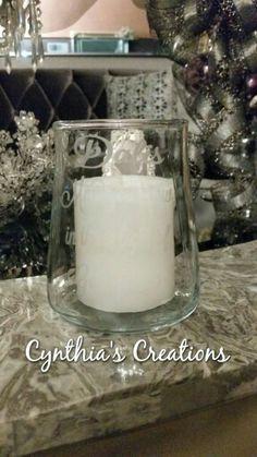 Custom Etched Glass Candle Holder For Baptism,  Front & Back