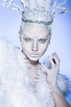 Snow Queen Fantasy face makeup& Masquerade Mask
