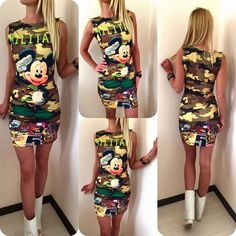2016 Fashion Women Summer Sleeveless Bodycon Camouflage Cartoon Mouse Military Letter Print Sexy Mini Dress Vestido Curto Cortos-in Dresses from Women's Clothing & Accessories on Aliexpress.com | Alibaba Group