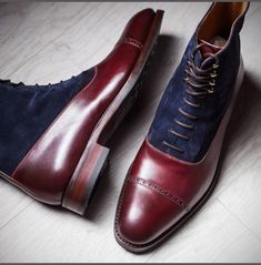 Men's+Handmade+Ankle+High+Navy+Blue+&+Maroon+Cap+Toe+Leather+Suede+Lace+Up+Boot Brand+Leather+Edges Running+Size+USA+Size+ Features+Handmade+Hand+Stitched Material++Leather+Suede Leather+Sole Color++N Blue Ankle Boots, Ankle Boots Men, Dress With Boots, Dress Shoes, Leather Lace Up Boots, Soft Leather, Calf Leather, Suede Leather, Leather Jackets