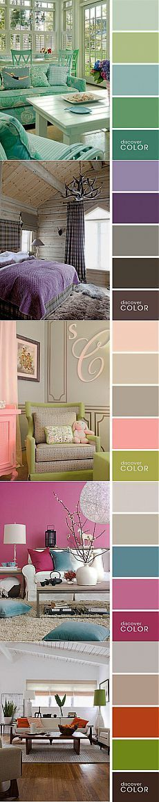 Multiple color palette example with matching rooms by Discover color. Colors range from neutral greens, purples, fun pinks and fuchsias to beiges. Bedroom Color Schemes, Bedroom Colors, Colour Schemes, Deco House, Colour Pallete, Color Palettes, My New Room, House Colors, Interior Design Living Room